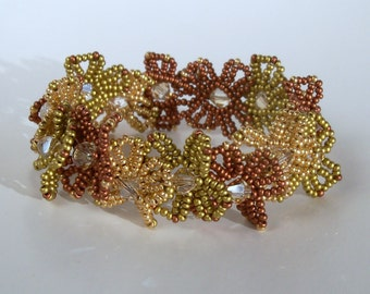 Beaded Lei Bracelet - Gold and Copper