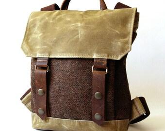 Petite Waxed Canvas Backpack in Walnut, Sage & Herringbone Wool