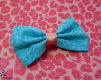 Turquoise and Pink Pastel Goth Damask Hair Bow