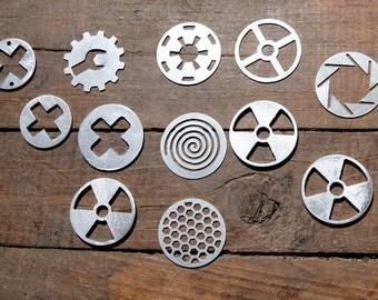 crosses iris shutter goggles metal lenses radioactive spiral crosses steampunk goth industrial
