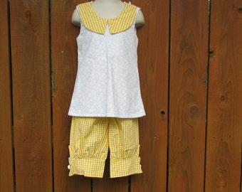 Knickers Outfit , Size 6 Girls Outfit , Capri Pants And Top , Yellow And White