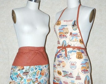 Route 66 Road Trip Apron Chef Style Reversible patch pocket or Waiter Server All Cotton  Upcycled Materials Arizona Flagstaff New Mexico