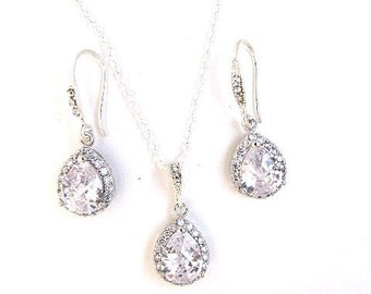 Crystal bridal jewellery set bridal wedding teardrop silver jewellery set pendant necklace drop earrings vintage style bridal necklace