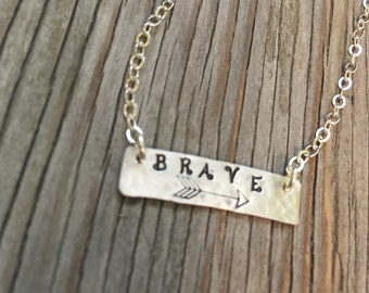 Sterling silver hand stamped 1/4 inch bar pendant necklace handstamped with brave handmade jewelry