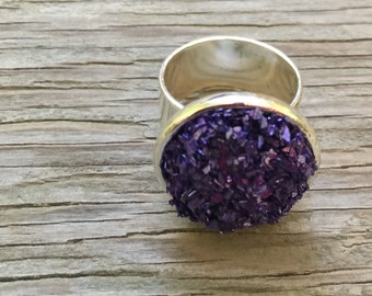Passionate purple faux druzy ring handmade adjustable silverplated ring artisan made jewelry statement ring