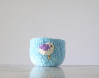 felt wool bowl - sky blue bowl with white and lavender bird - nature inspired - catch all - container - felted wool bowl by the Felterie