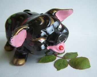 Vintage Redware Pig Piggy Bank 1950s Novelty Red Clay Bright Cold paint details Comical Piggie Rare Style B811 ,  Clay Bank ON SALE NOW