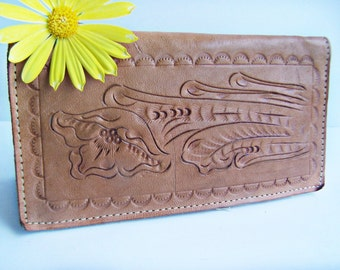Vintage Mexican Leather Check Book Wallet Floral Patterened Tooled Leather Bill Fold Made in Mexico Credit Card ID Passport Holder