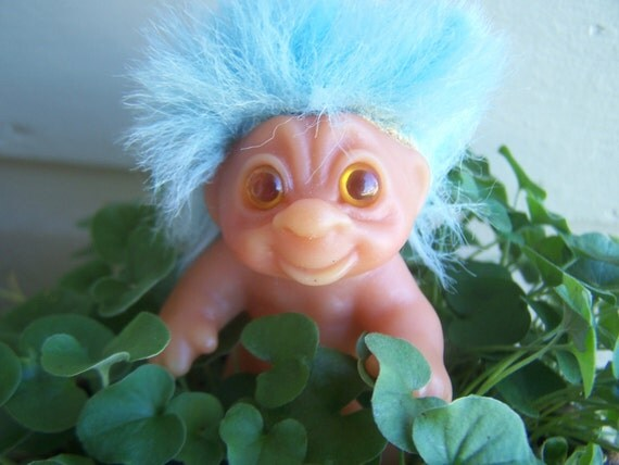 Vintage Toy Dam Troll Doll Baby Turquoise Blue Hair Amber