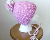 Knit Toddler Hat Chunky Split Brim Hat with Braids Winter Hat Petal Pink Pompom Hat Size 1-3 Years - Ready to Ship - Direct Checkout