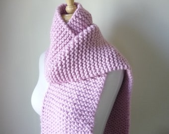 Chunky Knit Womens Scarf Warm Winter Scarf Blossom Pink 8 x 64 - Ready to Ship - Direct Checkout