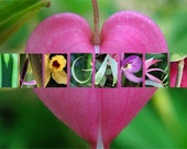 Margaret written with plant letters - instant digital download
