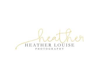 Gold Foil Photography Logo Premade Photography Business Logo Design Handwritten Logo Simple Signature Logo