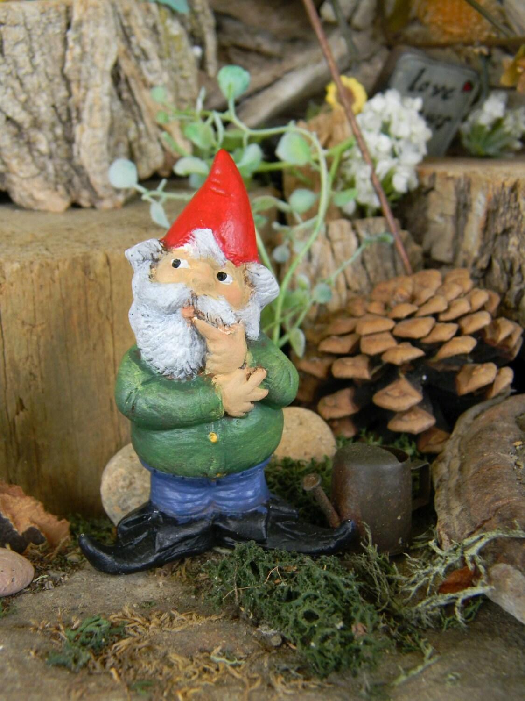 Garden Gnome Miniature Standing Male By Enchantdmushroomland
