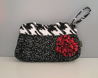 Handmade Clutch Purse in black and white with pink ruffle flower embellishment