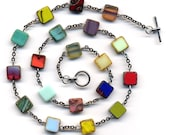 New Multicolor  Necklaces  With Unique Czech Beads, Multi color Flat Square Necklase, handmade jewelry by AnnaArt72