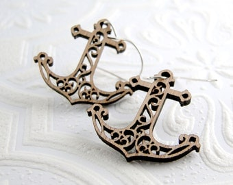 Anchor Earrings in bamboo