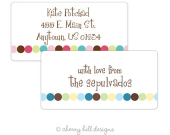 "Dot Dot Dot (pink or blue) Gift Tag - set of 24 4"" x 2"""