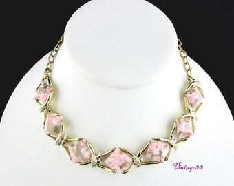 Necklace Collar Pink Gold Marbled Thermoplastic