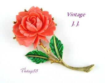 Brooch Celluloid Coral Rose Enamel Gold tone By JJ Vintage