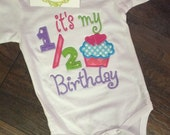 Girls Boys half Birthday Shirt applique with cupcake