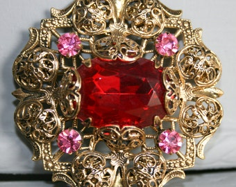 Red and Pink Filigree Rhinestone Brooch