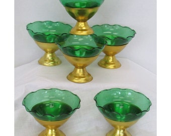 6 Anodized Aluminum W/Green Ruffle Glass Inserts Sherbets Dessert Dishes