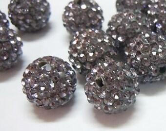 Black Diamond - Resin Rhinestone Beads - Set of 6 - #RR105