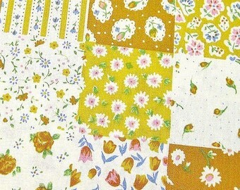 FREE SHIPPING Japanese Cotton Fabric - Yellow Flowers Squares Fabric (F055) - Fat Quarter