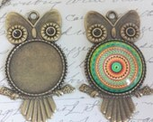 5 Owl Pendant Kits - Pendant Trays 1 inch Glass Cabochons and Matching Chains - 25mm