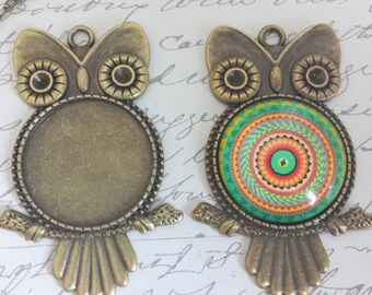 10 Owl Pendant Trays Antique Bronze Hold a 1 Inch / 25mm Glass Cabochon