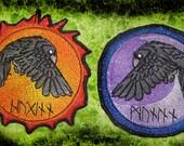 Odin's Ravens Pair Huginn and Muninn Raven Moon and Sun Patch  Iron on Patch