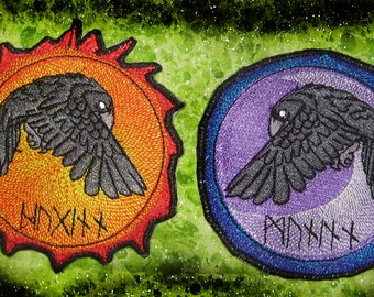 Odin's Ravens Pair Huginn and Muninn Raven Moon and Sun Patch  Iron on Patch