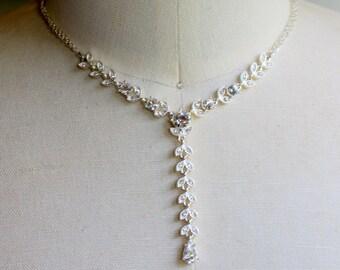"""Vintage Necklace """" Y """" Silver Tone Rhinestone Elegant"""