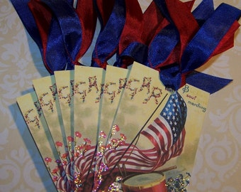 July 4th Tags 4th of July Tags Patriotic Americana Vintage Style Tags Set of 6