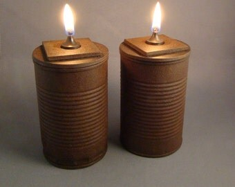 HOBO LUZ - Tin Can Oil Lamp - Concrete and Rusted Tin - Indoor or Outdoor Lantern Lighting - Industrial