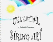 PDF Celestial String Art Pattern Book 11, 9 ornaments, decorations, sun, moon, stars, clouds, patterns
