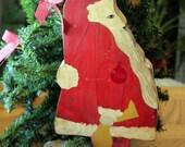 Wooden Santa with bag