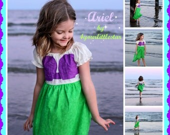 Disney Inspired Ariel Peasant Dress for Infants, Toddlers, Girls Sizes 12 mos to Size 10