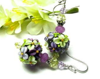 Spring Earrings Lampwork Earrings Floral Earrings Flower Earrings Round Bead Earrings Glass Earrings Artisan Earrings Beaded Earrings