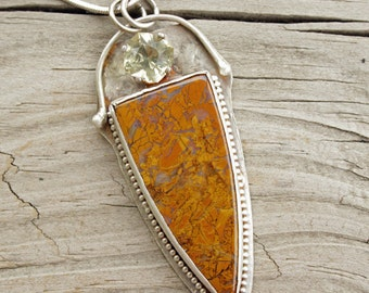 "Stone Canyon Jasper Cabochon, Natural Citrine Faceted Stone, Sterling Setting, 2"" x 1"" Pendant, Textured Sterling, Handmade Jewelry"