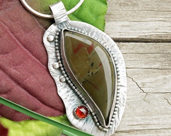 Oregon Morrisonite Pendant, Morrisonite Gemstone Jewelry, Jasper Jewelry, Handmade Gemstone Jewelry, Red Garnet Stone, Sterling Silver