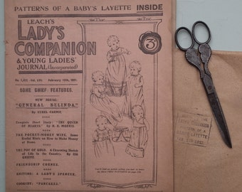 Antique Women's Magazine and Sewing Pattern for Baby's Layette - Leach's Lady's Companion 1921 - knitting pattern for women's camisole top
