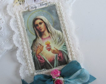 Virgin Mary Gift Tag Mxed Media Art Tag Catholic Gift Religious Card Mothers Day Card