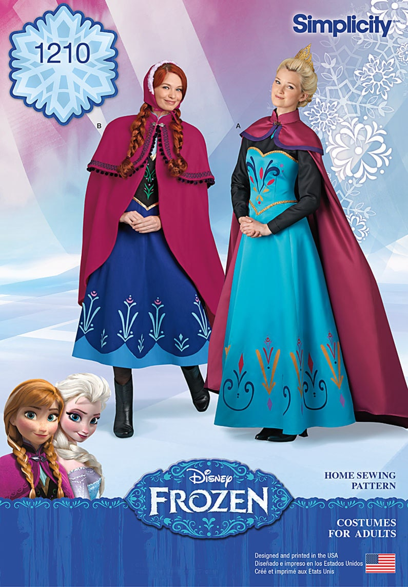 adult frozen pattern elsa coronation dress and cape anna. Black Bedroom Furniture Sets. Home Design Ideas