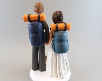 Custom Handmade Hiking Theme Wedding Cake Topper