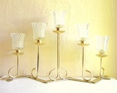 Hollywood Regency Gold Brass Candelabra Centerpiece with Glass Holder 5 Candles