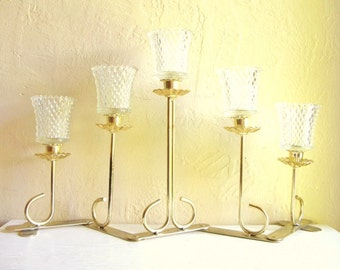 SALE - Hollywood Regency Gold Brass Candelabra Centerpiece with Glass Holder 5 Candles