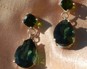 Prasiolite and Chrome Diopside Drop Earrings in Sterling Silver