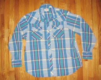 """Wrangler Blue Plaid Vintage Cowboy Shirt 50"""" Chest Snap Pearl Button"""